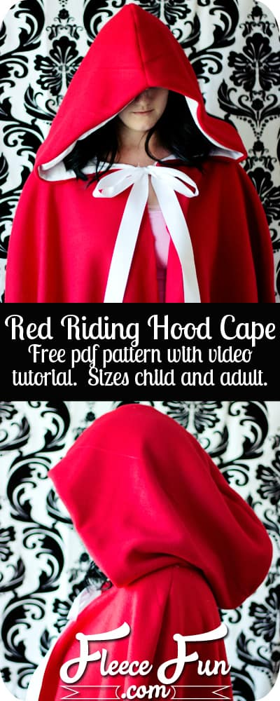 Will keep the chill from nipping, but not the wolves. This cape has a video tutorial with a FREE sewing pattern. It's only six steps - looks DIY  easy! Love this fleece sewing Project -  Red Riding Hood Cape Pattern. #costumeidea #sewingproject #freesewingpattern