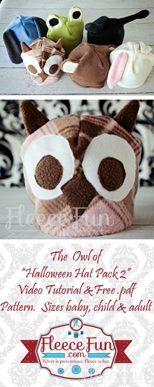 Such a cute free fleece hat sewing pattern.  I love owls and I think this would be a cute winter hat.  Love that this tutorial is beginner friendly.
