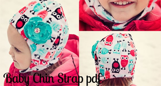 I love this Baby chin strap hat tutorial This sewing DIY is such a good idea. Baby can't pull the hat off! There's a free pdf pattern and a video to walk you through it. Great Fleece Sewing Project. Love this fleece hat.