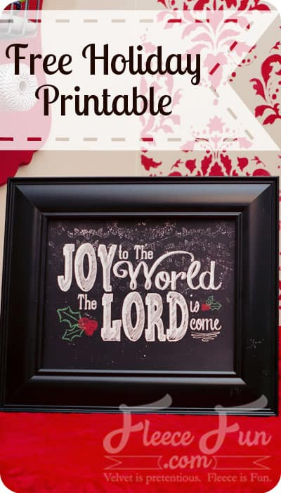 I love this free chalkboard looking printable with the Joy to world lyrics on it. Such and easy Christmas decor DIY idea.
