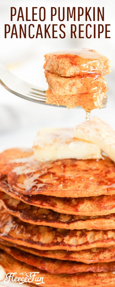 This Paleo Pumpkin Pancake recipe is fast to make!. Perfect paelo treat for fall only requires a few ingredients and makes a small batch.