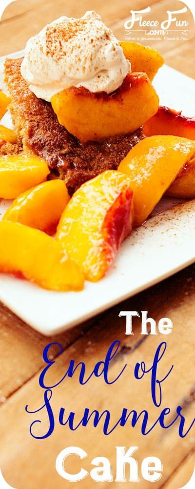 I love this yummy dessert recipe of cake a peaches.  This recipe looks like a great way to send off summer.  I can see eating this on the porch with a bunch of family and friends.