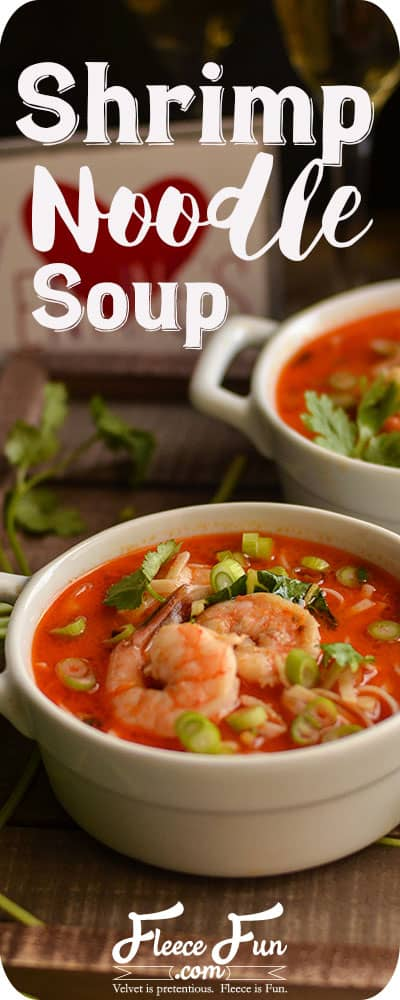 I love this shrimp noodle soup for 2 recipe.  It's perfect for a romantic dinner. Want to try cooking this!