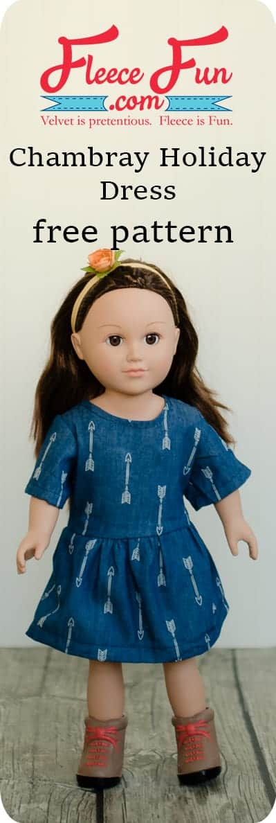 """This sewing project for a Chambray Party Dress for 18"""" Doll Free Pattern is perfect for your American Girl Doll.  The free pdf sewing pattern is easy to download."""
