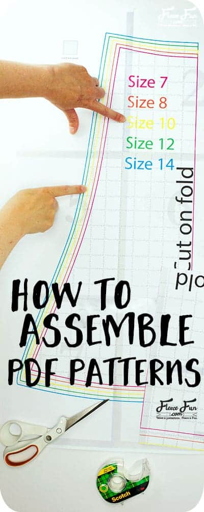 Learn the basics to Pattern Assembly for PDF Sewing Patterns.  Learn the tips, tricks ( and to avoid potential pitfalls) when putting together a digital sewing pattern that you print from home. Learn how pattern assembly works with Fleece Fun's FREE sewing patterns. Great for sewing projects.