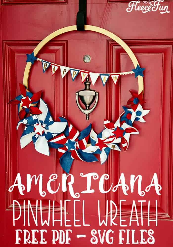 "I love this Americana Decor DIY Patriotic Pinwheel Wreath.  With it's red white and blue bunting that says ""Happy 4th"" to the patriotic pinwheels that are different sizes, it's perfect for my Fourth of July decorations.  Free SVG and PDF files too to make it easy.  Love this. #patrioticdecor # patrioticwreath #patriotic crafts #fourthofjulydecorations #4thofjulycrafts"