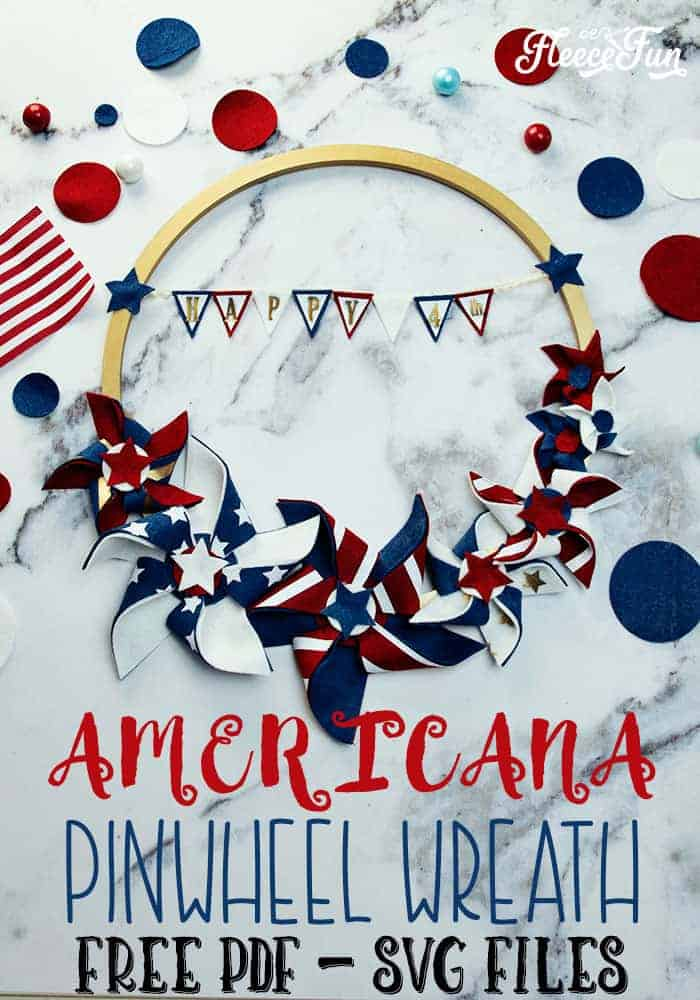 """I love this Americana Decor DIY Patriotic Pinwheel Wreath. With it's red white and blue bunting that says """"Happy 4th"""" to the patriotic pinwheels that are different sizes, it's perfect for my Fourth of July decorations. Free SVG and PDF files too to make it easy. Love this. #patrioticdecor # patrioticwreath #patriotic crafts #fourthofjulydecorations #4thofjulycrafts"""