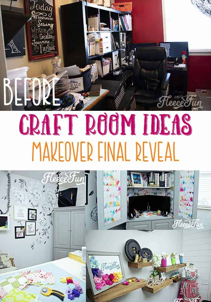You'll love these Craft Room Ideas and the beautiful pictures of this craft room makeover.  She takes it from dark and cluttered to airy and wow! #craftroom #craftroomorganization #craftroomdesign #craftroomideas