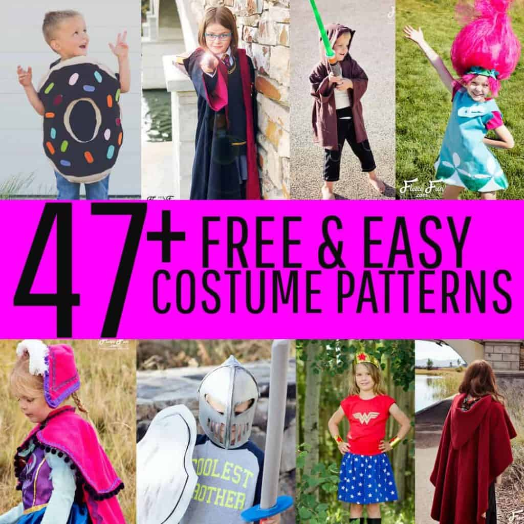 This amazing collection of FREE costume patterns has something for everyone! Adult to kids sizes with easy step by step instructions and videos.
