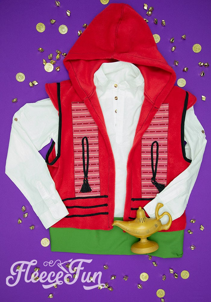 This Aladdin costume DIY is inspired by the Vest from the 2019 movie! Use this free pattern to make a hoodie vest just like Aladdin's.