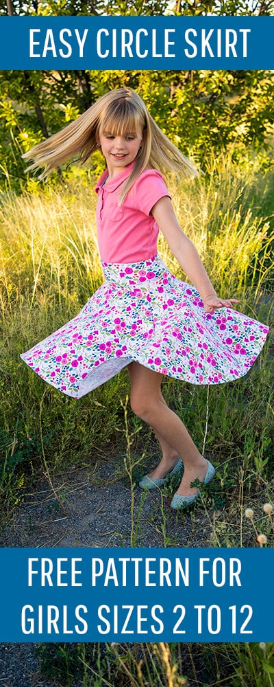 This circle skirt pattern for girls has a FREE downloadable pattern to make sewing a breeze. No math needed. Easy to follow tutorial for beginners.