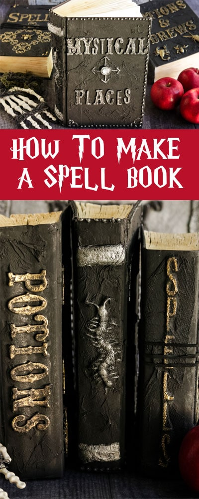This Harry Potter Spell Book DIY is easy to follow and you can make several different versions of books to fill up your Wizarding Library. Be the envy of our Hogwarts classmates with your book collection! #harrypotter #harrypottercrafts #harrypotterspellbook #harrypotterparty #potterhead