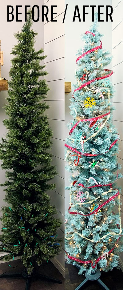 Learn how to spray paint a pre lit Christmas tree with these easy to follow step by step instructions and photos. Easy tricks to make it simple! #treedecorations #holidaycrafts #handmadeornaments #christmasbaubles #christmasmood #christmascheer #christmascraft #christmasdiy #christmasdecoration #christmasdecorations #handmadechristmasdecoration #xmasdecoration #xmascrafts
