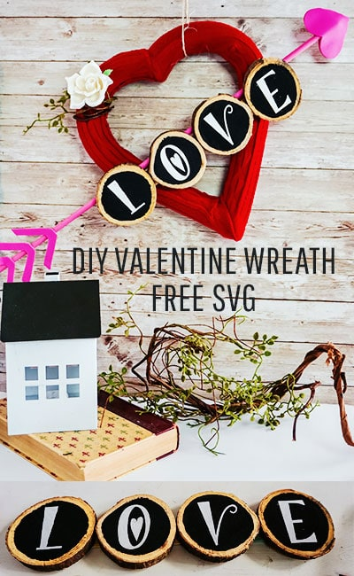 """I love the """"sweater"""" look on this Valentines Day Wreath DIY. Easy DIY comes with a free SVG file to make the project a breeze! #valentinesday #valentinedecorationsideas #valentinesdaydoordecorations #valentinesdoordecor #valentinesDIY #valentinesdaydiy #valentinesdayhomedecor #valentinewreath #valentinewreathideas #valentineswreathdiy"""