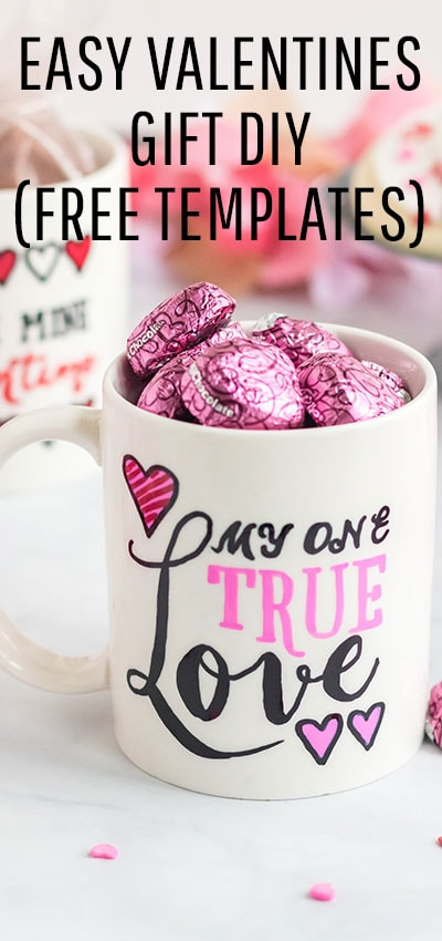 You'll love this sharpie mug secret hack that gives you the hand drawn look - no artistic talent required! Simply use the free template and instructions to make this DIY Valentine's Day gift! #valentinesday #valentinedecorationsideas #valentinesDIY #valentinesdaydiy #diyvalentinesgifts #sharpiemugdiy #sharpiemugideas #sharpiemugdesigns