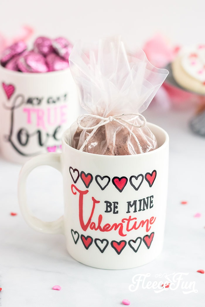 You'll love this sharpie mug secret hack that gives you the hand drawn look - no artistic talent required! Simply use the free template and instructions to make this DIY Valentine's Day gift! Sharpie Mug Tutorial.