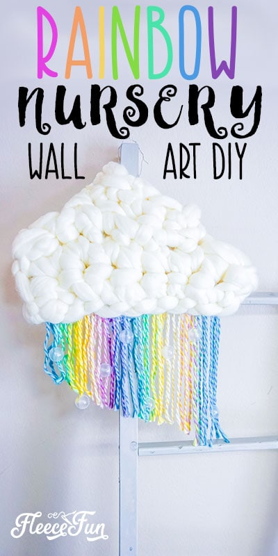 This DIY Nursery Wall Hanging with Rainbow and cloud is perfect for over the crib! Easy to make decoration for the nursery. Step by step instructions! #nursery