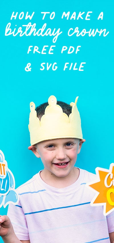 Learn how to make a birthday crown with this easy step by step tutorial and FREE pdf pattern! Video tutorial makes it easy to follow. #birthdaycrown #diycrown #cricutmade #cricut #cricutmaker #cricutcreated #cricut #cricutmade #diy #handmade #cricutcrafts #freesvg #svgfile #freesewingpattern #sewingproject