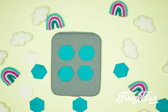 felt hexa gons on EasyPress Mat. This Matching Game DIY is perfect for learning and made to be durable to last for several years of abuse from kids!