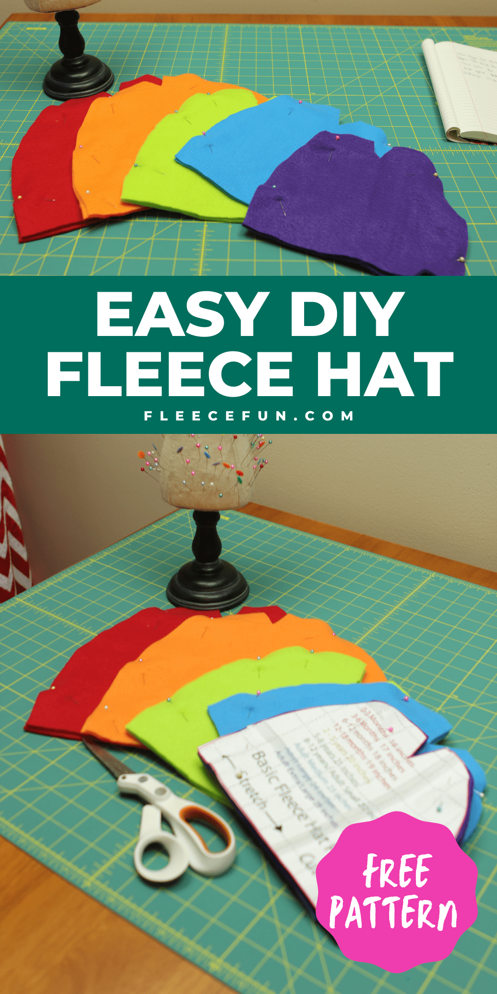 I love this easy basic fleece hat tutorial. I love the free pattern that comes with it. Perfect fleece sewing project. This winter hat comes in sizes baby to adult. Perfect sewing pattern for the whole family. #fleecehatspatternsfree #fleecehatdiy #fleecehattutorial #sewingproject #fleecehatpatternkids #fleecehatpatternsforwomenfree