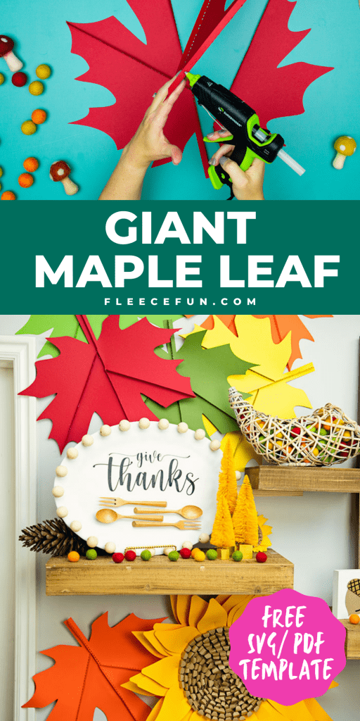 This Giant Maple Leaf Template and Tutorial (Free PDF and SVG) is larger than life. This step by step tutorial shows how to bring fall foliage indoors.