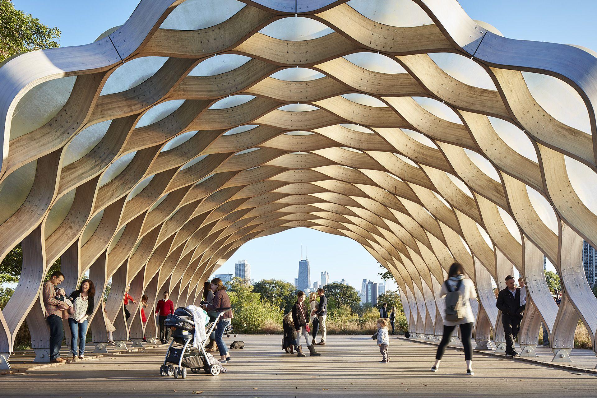 Glulam And Fibreglass Pavilion At Chicago S Lincoln Park