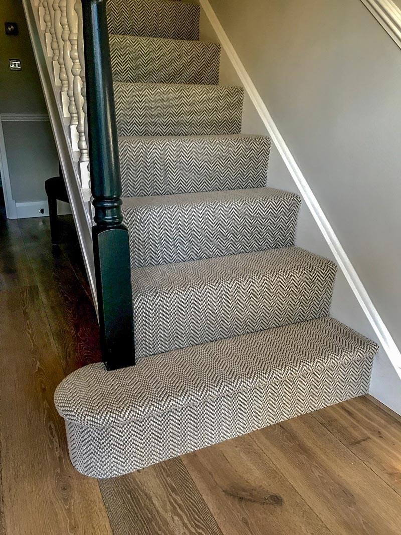 Carpet And Rug Gallery Floors Of Distinction | Grey Herringbone Carpet Stairs | Antelope | Victorian | Middle Stair | Roger Oates | Blue
