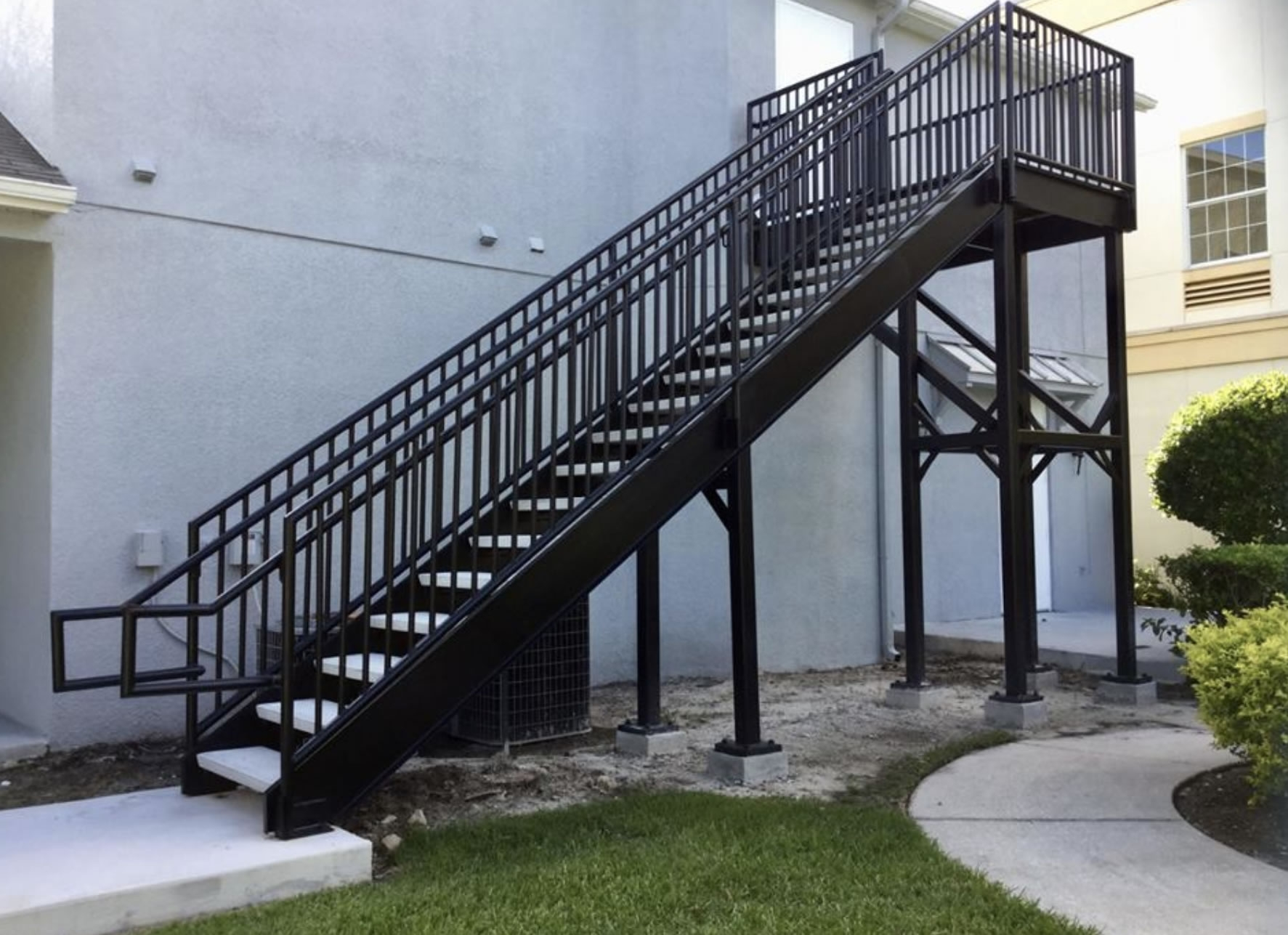 Steel Stairways Stairs Railings Florida Fabrications | Metal Railing For Steps Outside | Front Porch | Deck Stair | Aluminum | Deck Railing | Staircase