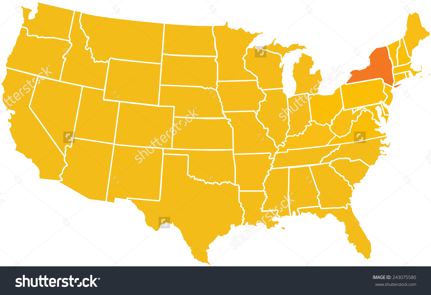 stock photo map of the continental united states with the state of     stock photo map of the continental united states with the state of  new york highlighted in darker orange color 243075580