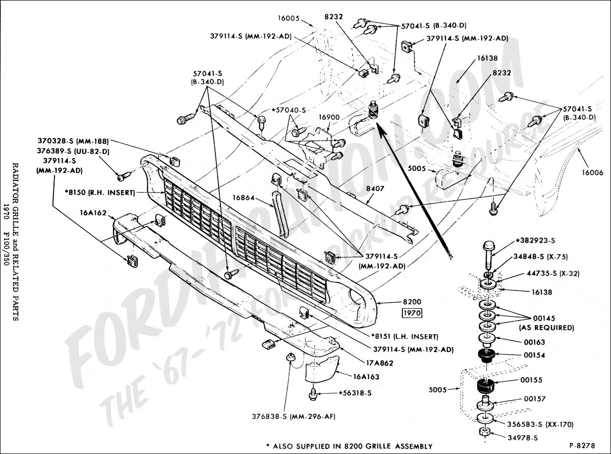 Radiator grille and related parts