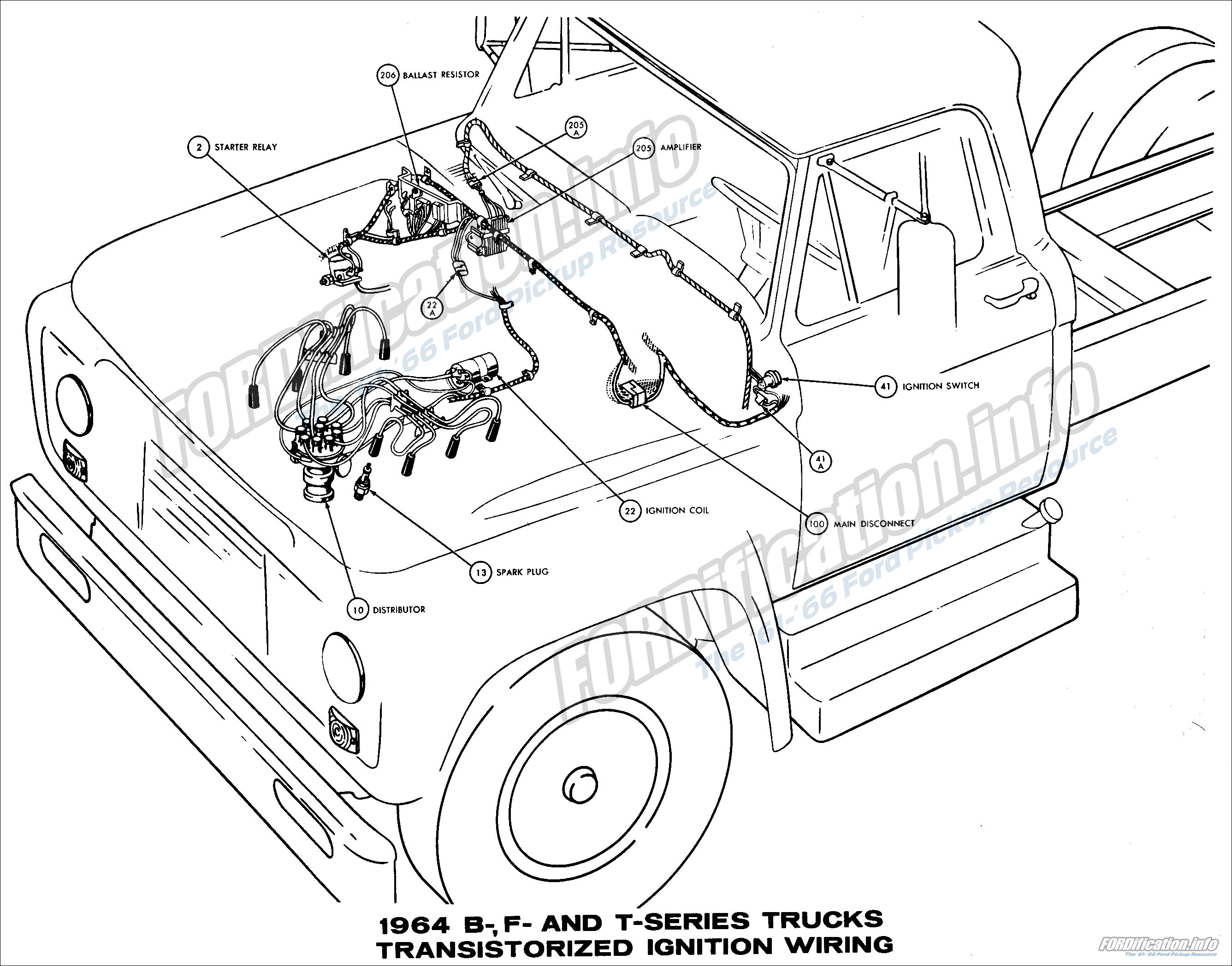 1964 b f and t series trucks transistorized ignition wiring