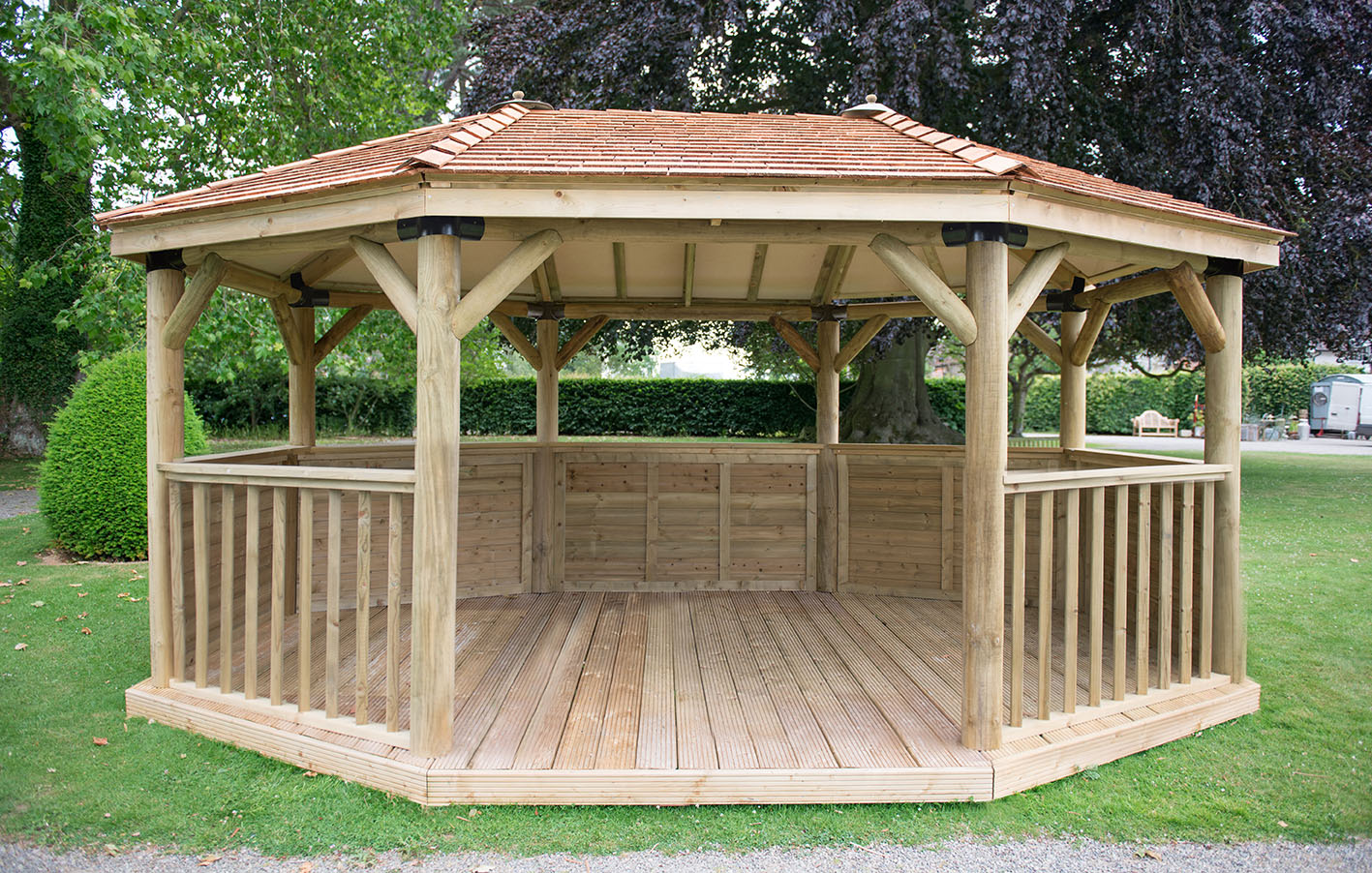 5 1m Premium Oval Wooden Gazebo With Cedar Roof Forest