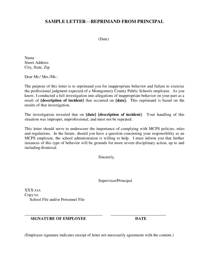 written reprimand forms