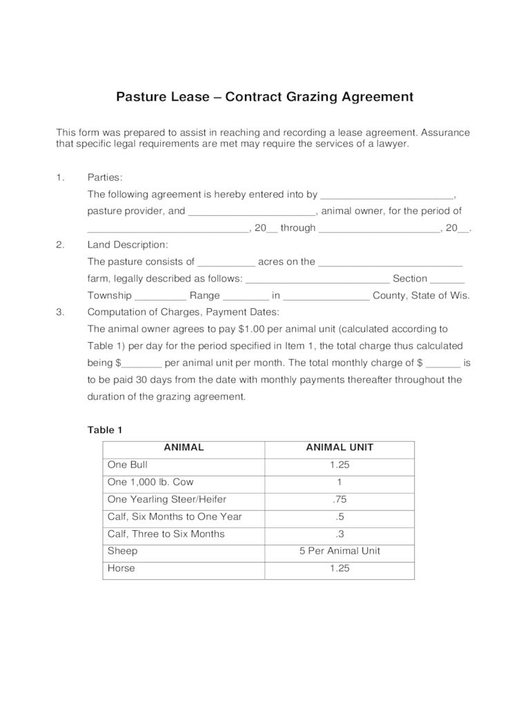Agreement Lease Pasture Simple