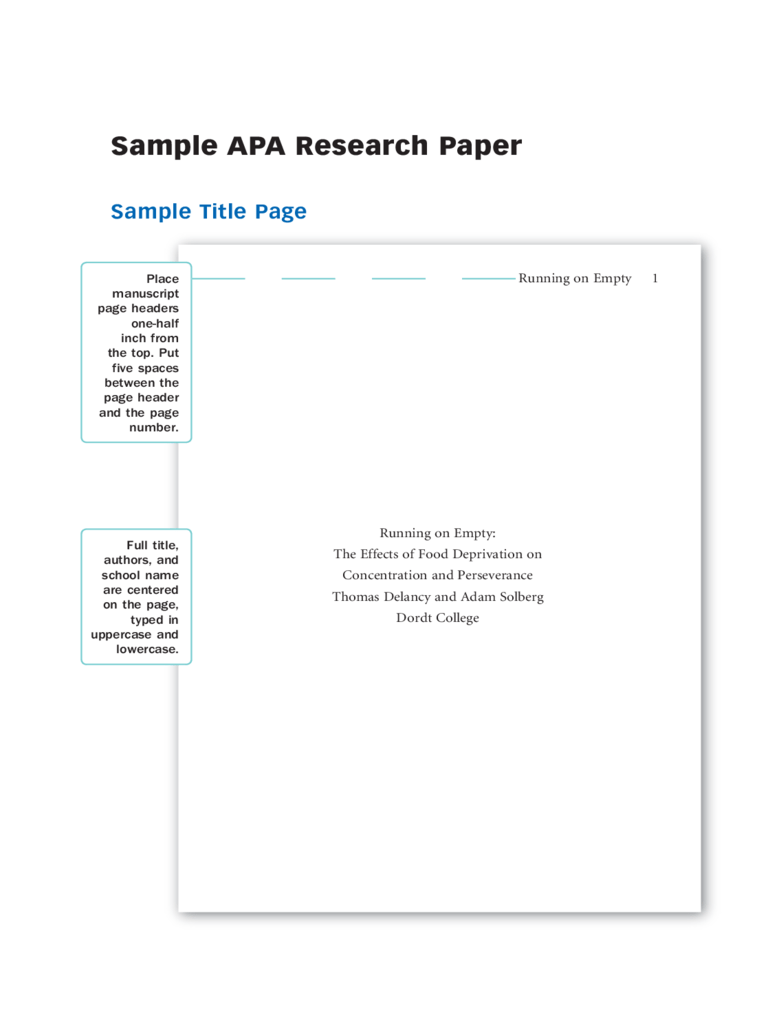 example of front page of research paper