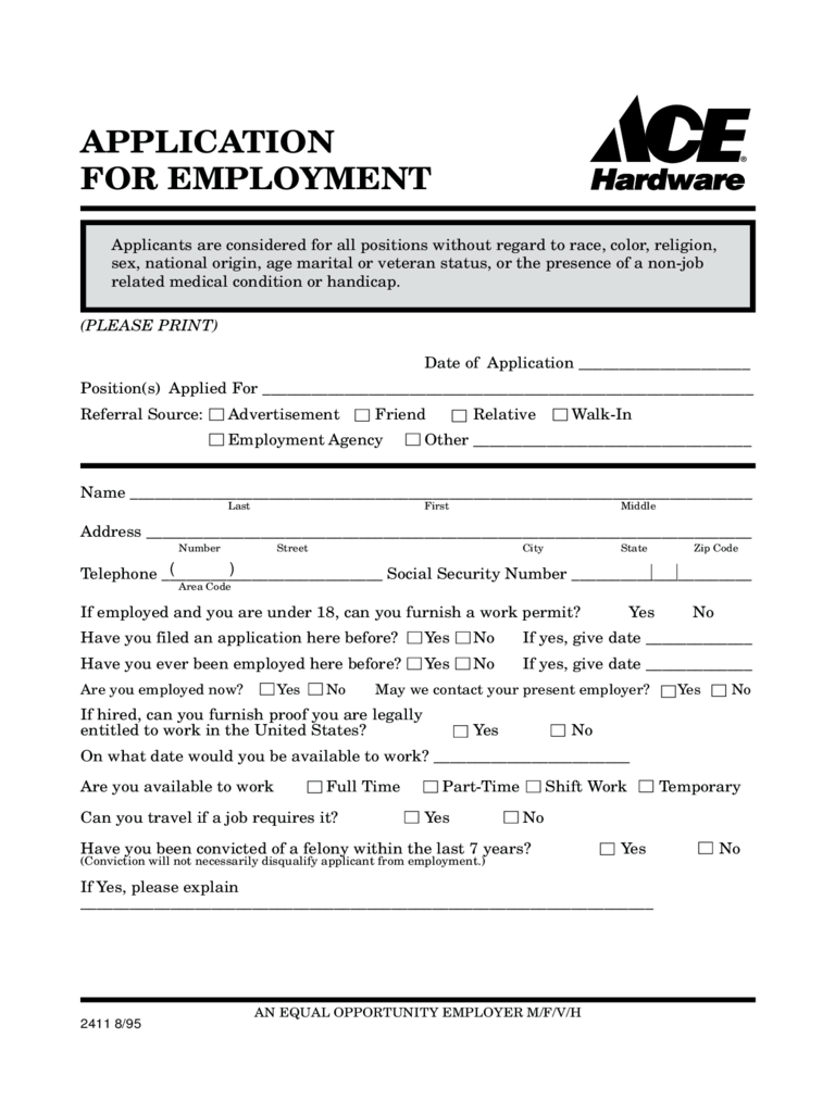 Availability Job Application Forms Printable