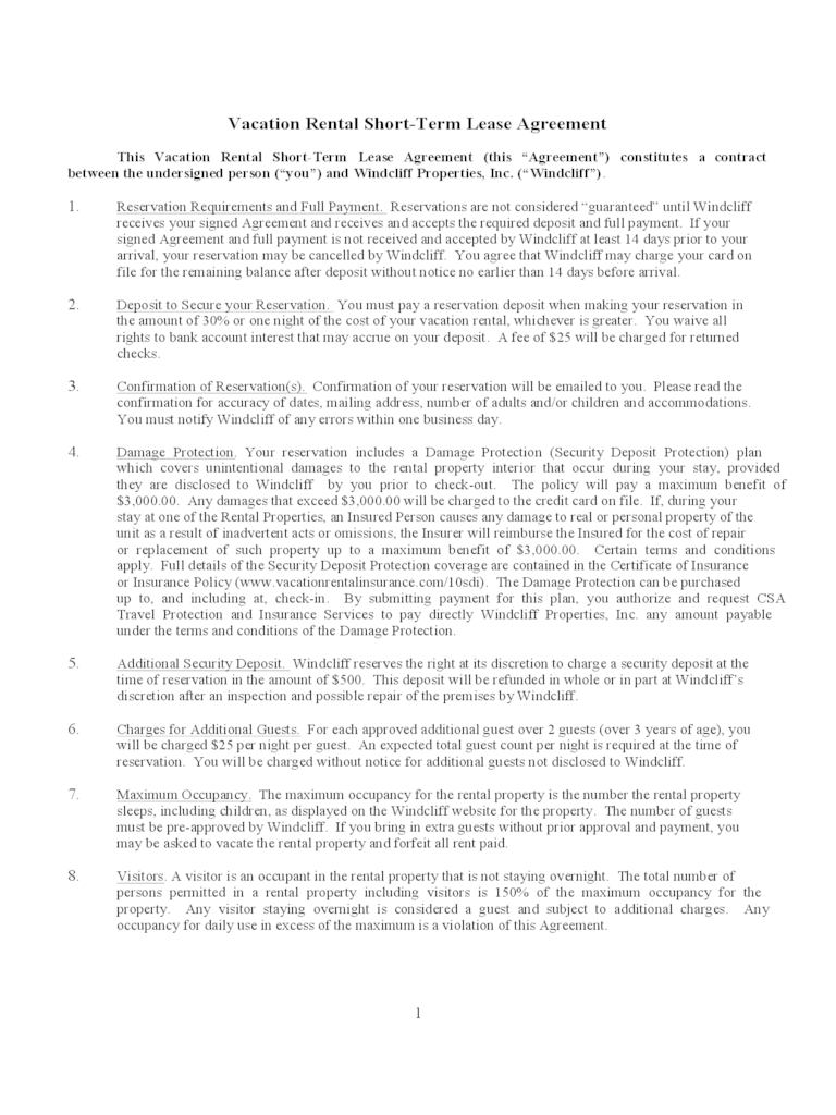Short Term Vacation Rental Agreement Forms