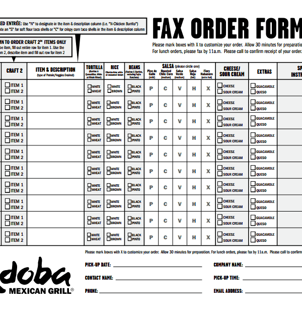 photo regarding Chipotle Printable Order Form referred to as Fax Obtain Sort For Chipotle