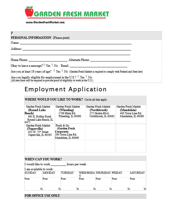 Fresh Market Tuscaloosa Application