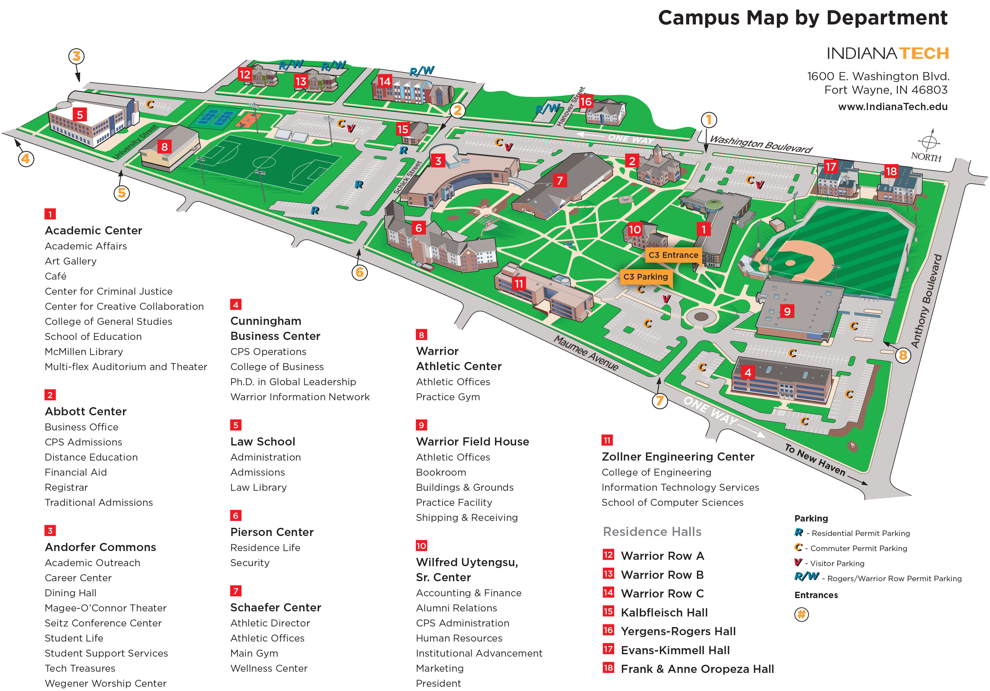 Indiana Tech Campus Map