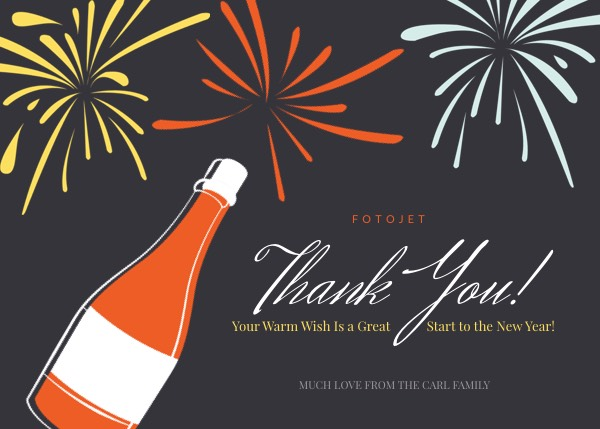 Firework New Year Thank You Card Template Template   FotoJet Firework New Year Thank You Card Template