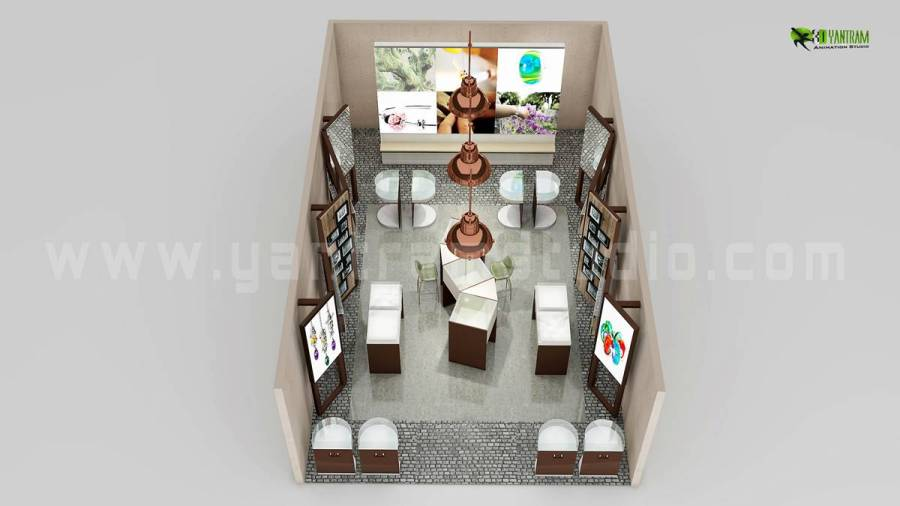 Top View of 3D Floor Plan Design for Jewelery shop   yantramstudio     Top View of 3D Floor Plan Design for Jewelery shop
