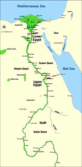 Nubian Desert Map Ancient Egypt