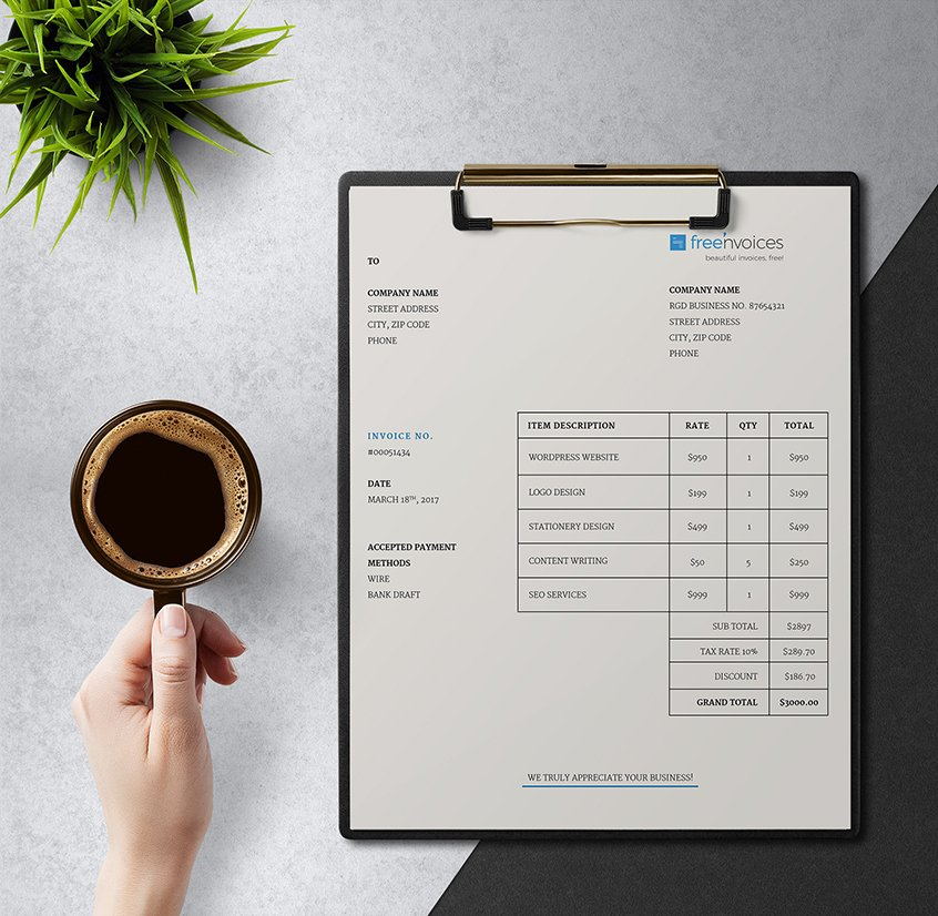 Clean Invoice Template Giveaway   Simple and Smart   Freenvoices simple invoice template