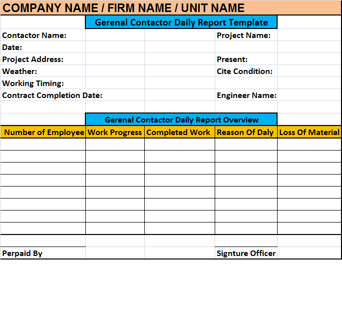 Superintendent Daily Log Template