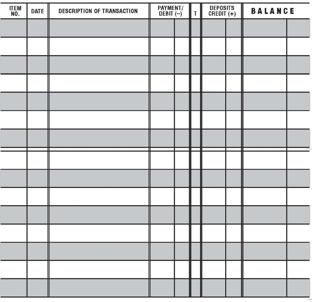 Printable Bill Payment Log