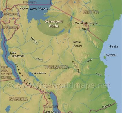 Serengeti Map     Tanzania Serengeti Map  Physical map of