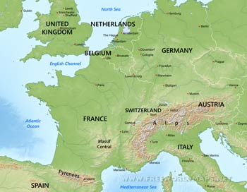 Western Europe Maps   by Freeworldmaps net Western Europe physical features
