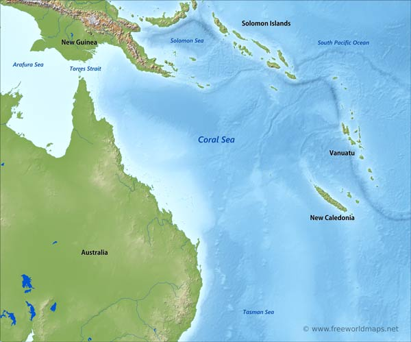 Coral Sea Map By Freeworldmaps Net