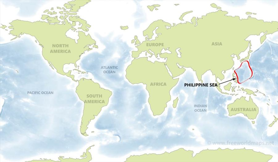 Philippine Sea map   by Freeworldmaps net Location of the Philippine Sea on the world map